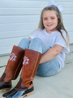 Monogram Tall Duck Boots Kids