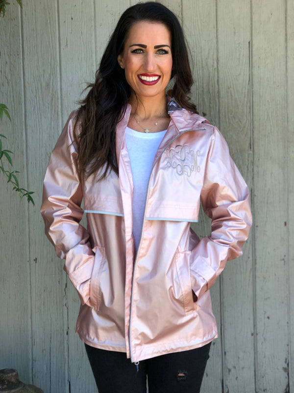 Rose Gold Monogrammed Rain Jacket