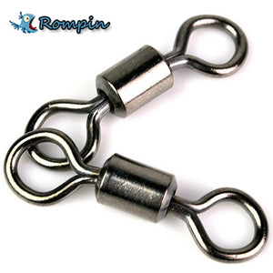 Rompin 50PCS Ball Bearing Swivel Solid Rings Fishing Connector 1CM Length Ocean Boat Fishing Hooks