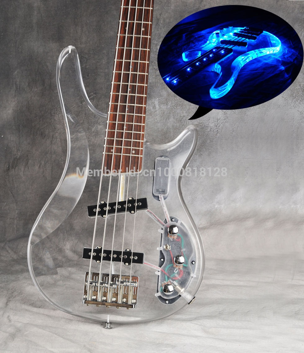2016 New Arrival Thru 5 String Acrylic Body Bass Guitar Rosewood Fingerboard With LED Light High Quality Real Photo