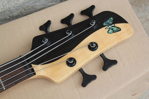 FLAME MAPLE MIX WITH ROSEWOOD Foderaa Active 5 string bass guitar