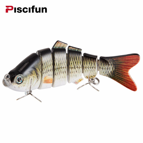 Piscifun Fishing Lure 10cm 20g 3D Eyes 6-Segment Lifelike Fishing Hard Lure Crankbait With 2 Hook Fishing Baits Pesca Cebo