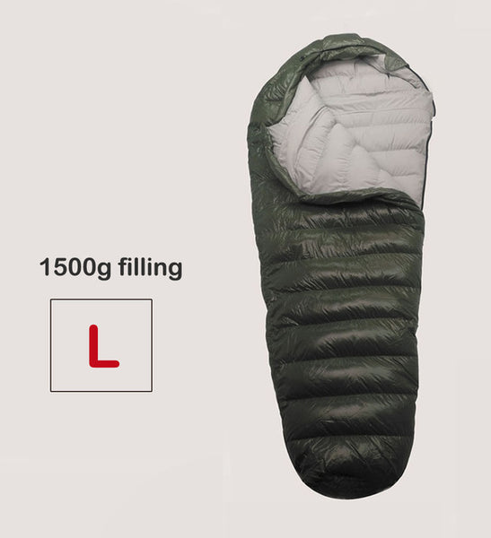 Winter Sleeping Bag Cold Temperature Sleeping Bag for Winter, Army Green Duck Down Filling 1kg  1.5kg down Sleeping Bag