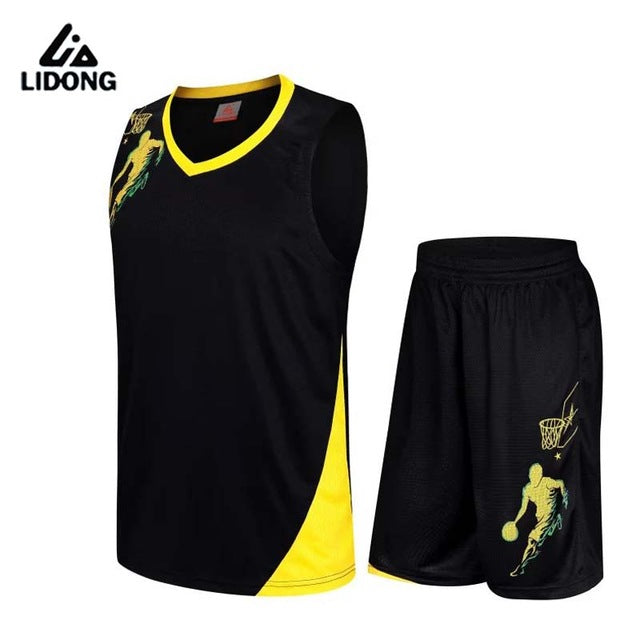 2018 New Men Basketball Jersey Sets Uniforms kits Adult Sports clothing Breathable basketball jerseys shirts shorts DIY Custom