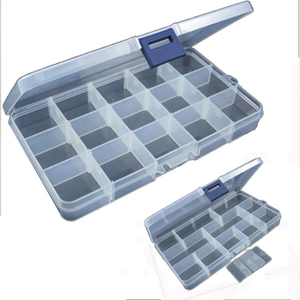MUQGEW Hot Sale New Arrival 15 Slots Adjustable Plastic Fishing Lure Hook Tackle Box Storage Case Organizer Fish Tool Box