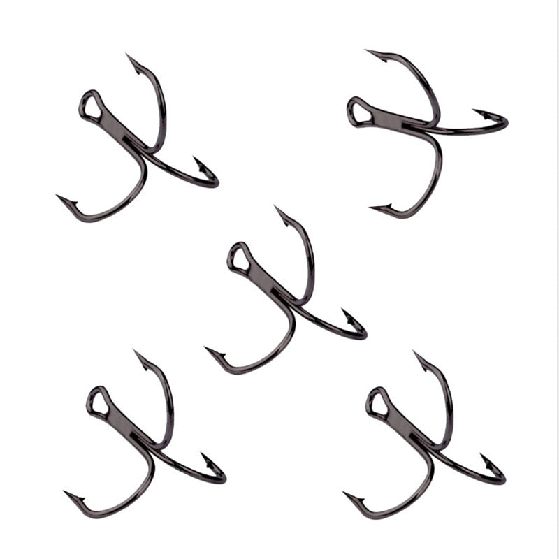 10Pcs/lot 2# 4# 6# 8# 10# Black Fishing Hook High Carbon Steel Treble Overturned Hooks Fishing Tackle Round Bend Treble For Bass