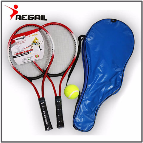 Set van 2 Kinder Tennisrackets voor Training | Van Carbon Fiber Top Staal Materiaal (incl. tennisbal)