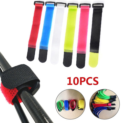 10Pcs Reusable Fishing Rod Tie Holder Strap Suspenders Fastener Hook Loop Cable Cord Ties Belt Fishing Tackle Box Accessories