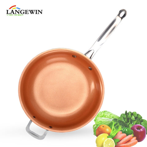 Non-stick Frying Pan Skillet Copper Ceramic Pan Induction Skillet Saucepan Oven & Dishwasher Safe Red Nonstick Kitchen Cookware