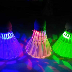 New 4Pcs Colorful LED Badminton Shuttlecock Ball Feather Glow in Night Outdoor Entertainment Sport Accessories
