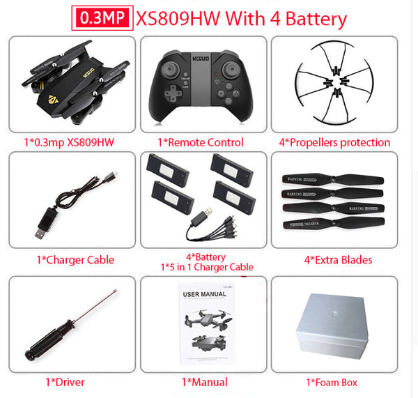 Visuo XS809W XS809HW Quadcopter Mini Foldable Selfie Drone with Wifi FPV 0.3MP or 2MP Camera Altitude Hold RC Dron Vs JJRC H47