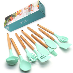 Silicone Cooking Utensils Kitchen Utensil set - 9&11 Natural Wooden Silicone Cooking  Utensils - Kitchen Tools Gadgets