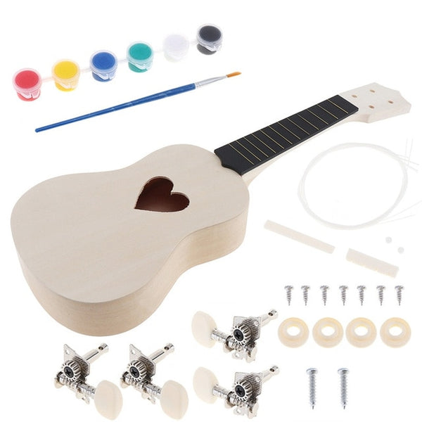 21Inch Simple and Fun DIY Ukulele DIY Kit Tool Hawaii Guitar Handwork Support Painting Children's Toy Assembly for Amateur