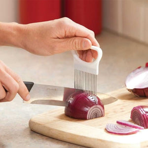 Kitchen Gadgets Handy Stainless Steel Onion Holder Potato Tomato Slicer Vegetable Fruit Cutter Safety Cooking Tools Accessories