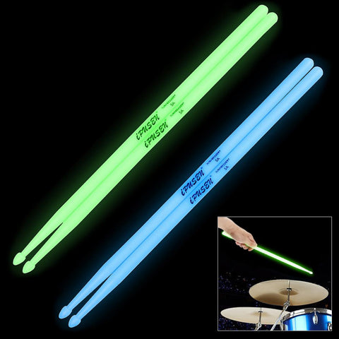 Noctilucent 5A Drum Stick Glow in The Dark Stage Performance Luminous Lighting Drumsticks 2 Colors Optional Drum Sticks