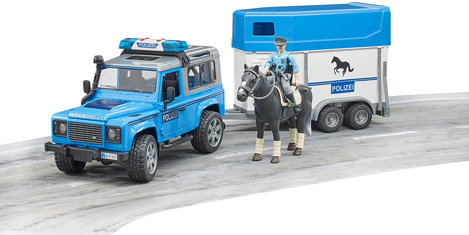 Bruder 02588 Land Rover Police Vehicle w Horse Trailer, Horse and Policeman, L&S Module