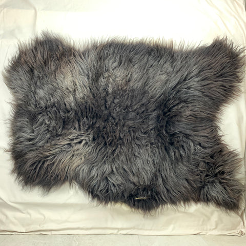 Icelandic Sheepskin Pelt - black with silver 32 x 25 inches - home decor or rug