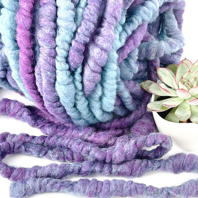 Chunky Yarn Core Spun Yarn - Purple Rain 100 feet - Icelandic Wool Extra Bulk Art Yarn - Copia Cove Icelandic Sheep & Wool
