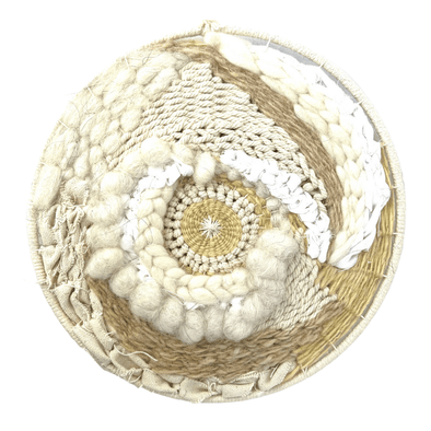 Circle Woven Wall Art Home Decor for Spring - Medium Round Weaving A with Natural Fibers - Copia Cove Icelandic Sheep & Wool