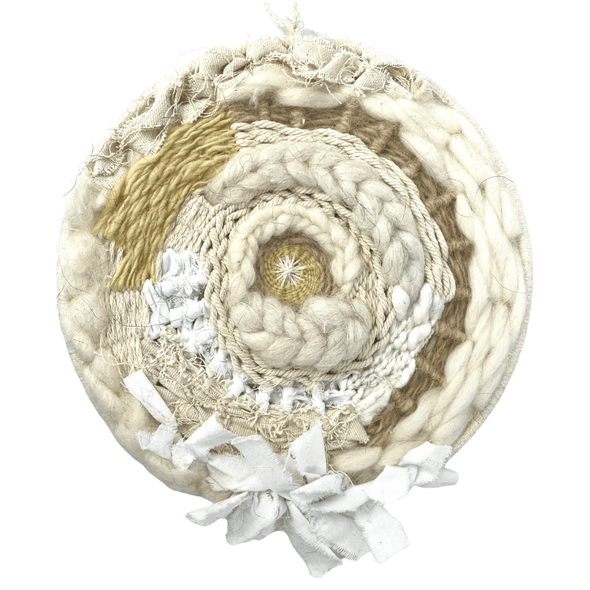 Circle Woven Wall Art Home Decor for Spring - Medium Round Weaving B with Natural Fibers - Copia Cove Icelandic Sheep & Wool