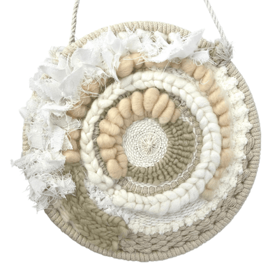 Circle Woven Wall Art Home Decor for Spring - Medium Round Weaving C includes Natural Fibers - Copia Cove Icelandic Sheep & Wool