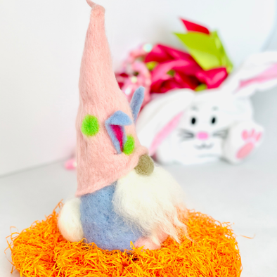 DIY Needle Felted Gnome Kit - Easter Bunny Gnome Instructions and Wool Materials - Easter Gnome Decor - Copia Cove Icelandic Sheep & Wool