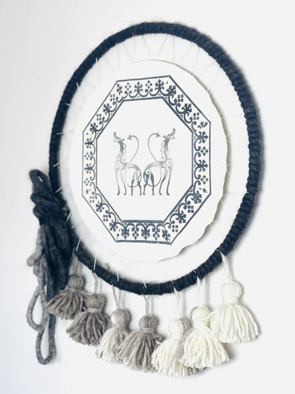 Dragon Catcher Circle Wall Art Dreamcatcher- Gray Dragons - Modern Skinnfell Handmade Sheepskin and Icelandic Wool - Copia Cove Icelandic Sheep & Wool