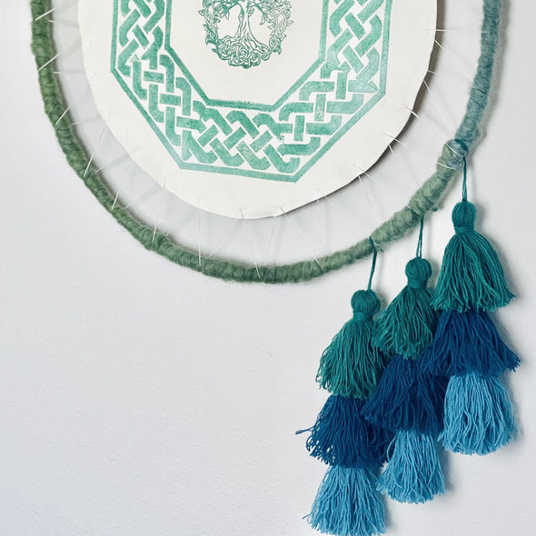 Dragon Catcher Circle Wall Art Dreamcatcher- Green Tree of Life - Modern Skinnfell Handmade Sheepskin and Icelandic Wool - Copia Cove Icelandic Sheep & Wool