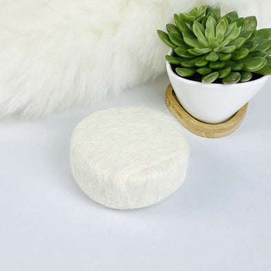 Felted Wool Sheep Milk Soap & Soap Dish - 4oz Round Bar - Unscented - Copia Cove Icelandic Sheep & Wool