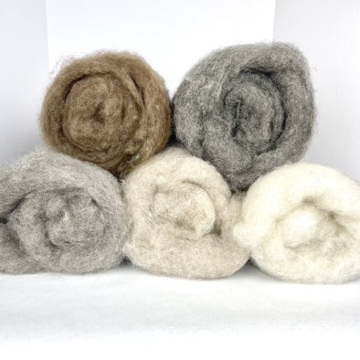Icelandic Lamb Wool Batts / Batting / Batt 9oz Natural Colors - Copia Cove Icelandic Sheep & Wool