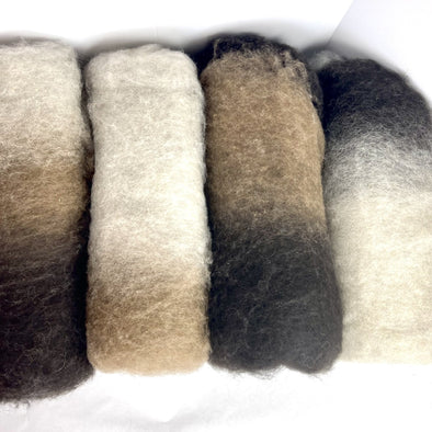 Icelandic Lamb Wool Variegated Batts / Batting / Batt 9oz Natural Colors - Copia Cove Icelandic Sheep & Wool