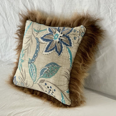 "Icelandic Pelt Pillow Blue Floral and neutrals cotton with Brown Fleece Sheepskin back 18"" x 18"" Handmade Home Decor - Copia Cove Icelandic Sheep & Wool"