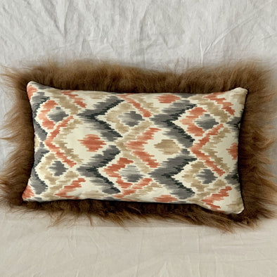 "Icelandic Pelt Pillow Diamond neutrals cotton with Brown Fleece Sheepskin back 20"" x 12"" Handmade Home Decor - Copia Cove Icelandic Sheep & Wool"