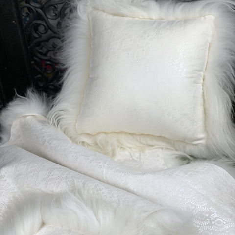 """Icelandic Pelt Skinnfell Pillow Sheep Suede leather with pearl inked design and Long White Fleece Sheepskin back 18"""" x 18"""" Handmade Home Decor"""