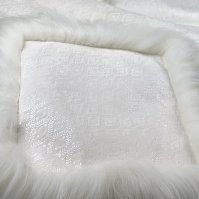 Icelandic Sheepskin Chair Pad with Pearl Inked Design - Handmade Skinnfell Art Home Decor - Copia Cove Icelandic Sheep & Wool