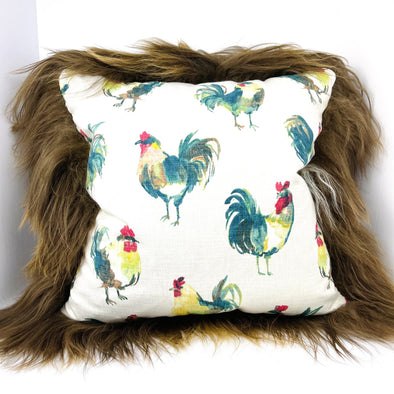 "Icelandic Sheepskin Farmhouse Roosters Pattern with Brown Wool 22"" x 22"" Handmade Fur Pillow Home Decor - Copia Cove Icelandic Sheep & Wool"