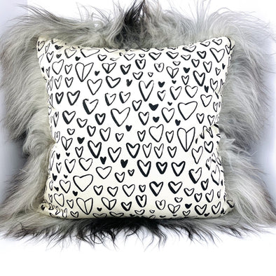 "Icelandic Sheepskin Hearts Pattern with Natural Gray Wool 22"" x 22"" Handmade Fur Pillow Home Decor - Copia Cove Icelandic Sheep & Wool"