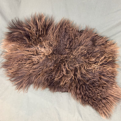 Icelandic Sheepskin Pelt - brown adult sheepskin 36 x 22 inches - home decor or rug - Copia Cove Icelandic Sheep & Wool