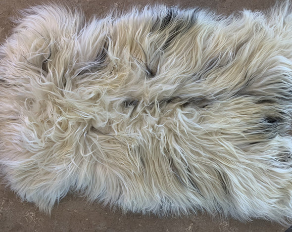 Icelandic Sheepskin Pelt - spotted black and white - home decor or rug - Copia Cove Icelandic Sheep & Wool