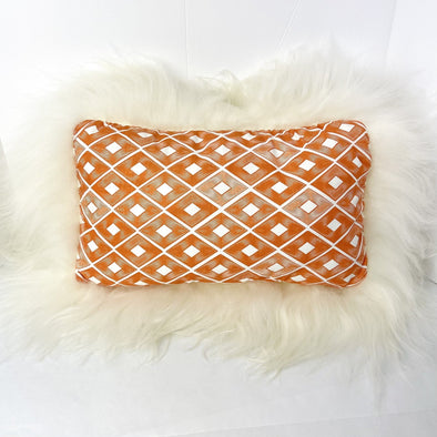 "Icelandic Sheepskin Pillow Orange Diamond with Long White Wool 20"" x 14"" Handmade Fur Pillow Home Decor - Copia Cove Icelandic Sheep & Wool"