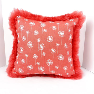"Icelandic Sheepskin White Dandelion Pattern with Short Coral Wool 18"" x 18"" Handmade Fur Pillow Home Decor - Copia Cove Icelandic Sheep & Wool"