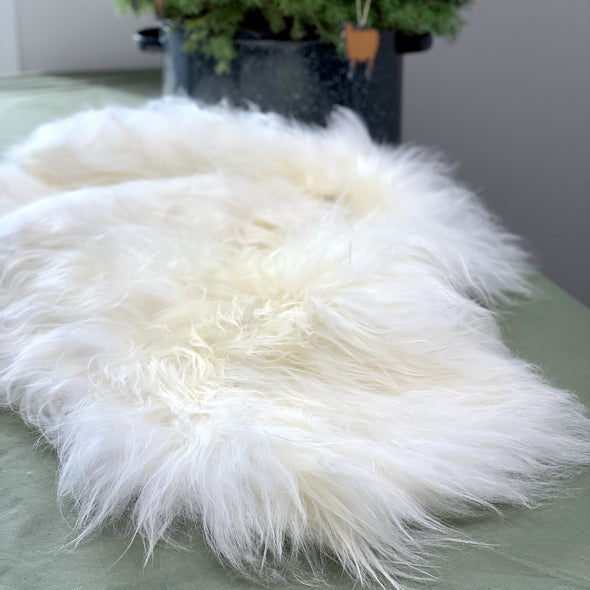 Icelandic Sheepskin with Pearl Inked Design - Handmade Skinnfell Art Home Decor - Copia Cove Icelandic Sheep & Wool