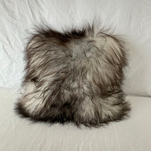"Load image into Gallery viewer, Icelandic Pelt Pillow Black Buffalo Plaid cotton with Long Gray Fleece Sheepskin back 18"" x 18"" Handmade Home Decor"
