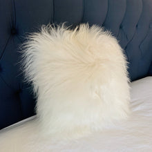 "Load image into Gallery viewer, Icelandic Pelt Pillow Golden winter wonderland with Long White Fleece Sheepskin back 18"" x 18"" Handmade Home Decor"
