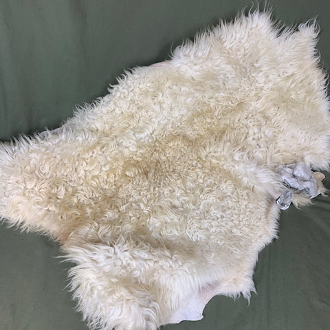 Icelandic Shearling Sheepskin a - white 33 x 23 inches - home decor or rug