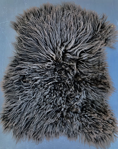 Icelandic Sheepskin - black lambskin 21 x 17 inches