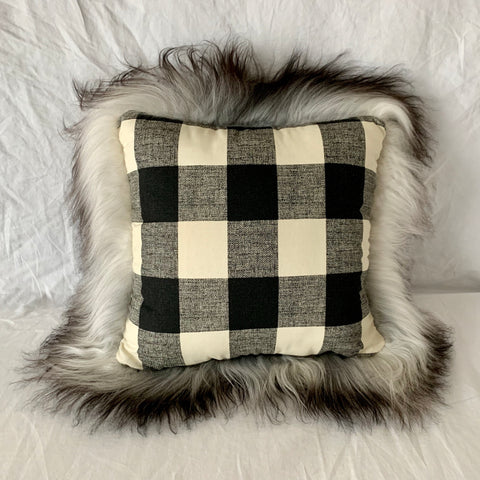 "Icelandic Pelt Pillow Black Buffalo Plaid cotton with Long Gray Fleece Sheepskin back 18"" x 18"" Handmade Home Decor"