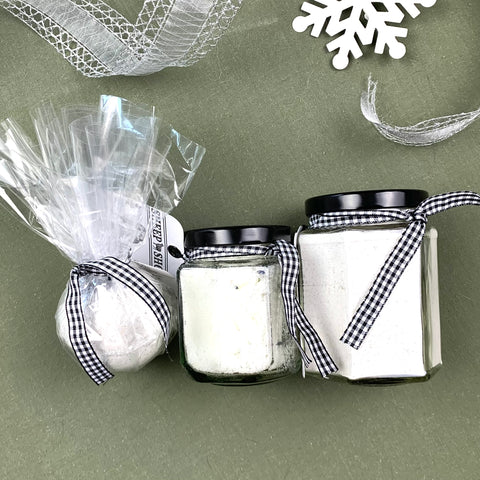 Sheep Milk Bath & Body Gift Set - English Lavender Sugar Scrub, Bath Soak and Bath Bomb Fizzie