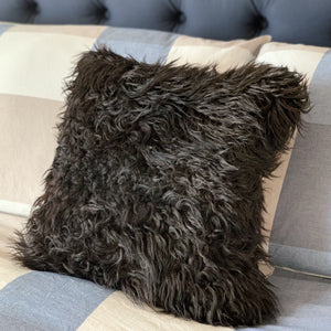 "Icelandic Sheepskin Pelt Pillow 16"" x 16"" - Handmade Sheepskin Home Decor - Black with Pink Pines"