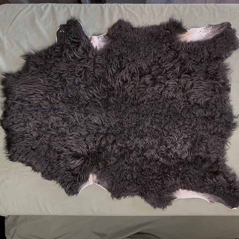 Icelandic Shearling Sheepskin Pelt - Black 30 x 23 inch - home decor or rug
